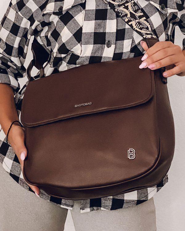 Τσάντα ώμου χιαστί ταχυδρόμου καφέ - WL77316